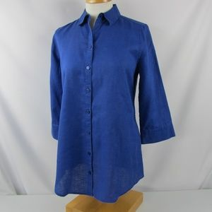 CHICO'S No Iron LINEN Blue LOOP BACK Tunic Top XS